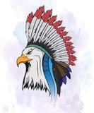 Eagle in een nationale Indische hoed stock illustratie