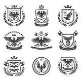 Eagle emblems icon set black Stock Images