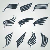 Eagle en de pictogrammen van engelenvleugels Geïsoleerde vlucht vector heraldische symbolen vector illustratie