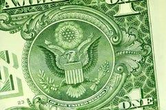 Eagle en el dólar Foto de archivo libre de regalías