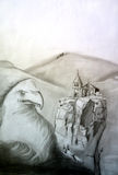 Eagle en la fe del guardia Imagen de archivo libre de regalías