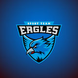 Eagle en un escudo Plantilla abstracta del emblema del deporte del vector Liga o Team Logo Muestra del equipo de la universidad Foto de archivo
