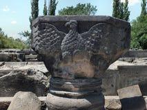 Eagle-Entlastung in Zvartnots-Kathedrale stockfoto
