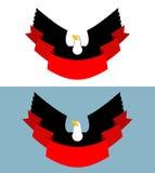 Eagle et ruban rouge Oiseau de la proie pour le symbole, emblème des sports Photos stock