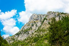 Eagle Eye panoramic viewpoint up on the cliff in Rhodope mountains. Background with the rocks and trees at Rhodope or Rodopi mountains in Bulgaria and Eagle Eye Royalty Free Stock Photo