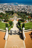 Eagle Eye View. Baha`i Gardens, view from the top over the Haifa Bay Royalty Free Stock Images