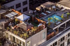 Eagle Eye View of Condominium and Swimming Pool Royalty Free Stock Photos
