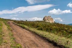 Eagle-förmiger Felsen in der Argimusco-Hochebene, in Nord-Sizilien Lizenzfreies Stockfoto