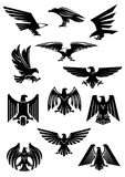 Eagle or falcon, aquila or hawk heraldic badge Royalty Free Stock Photo