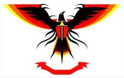 Eagle falk med de fördjupade färgrika vingarna stock illustrationer