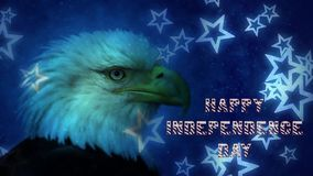 Eagle Falling Stars Happy Independence Day stock footage