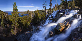 Eagle Falls Lake Tahoe, California. Eagle Falls which cascades down through a rocky hillside to Lake Tahoe, California is surrounded by forest which is part of a Royalty Free Stock Image