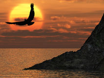 Eagle and fantastic sunset stock illustration