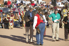 Eagle Feather Smudging of Senator and Mrs. John Kerry by Intertribal Council President, Gallup, NM Stock Images