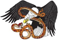 Eagle fighting a snake serpent. Eagle battling a snake serpent . Tattoo style vector illustration representing a fight of good and evil Stock Images