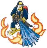 Eagle Firefighter Mascot Spays Water calvo su fuoco Illustrazione di Stock