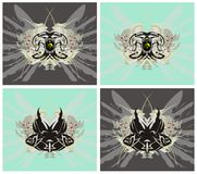 Eagle and fish symbols. With wings and splashes - four options Royalty Free Stock Photo