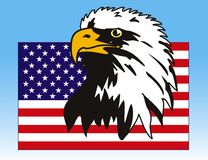 Eagle and flag. Vector illustration of eagle with American flag Royalty Free Stock Photography