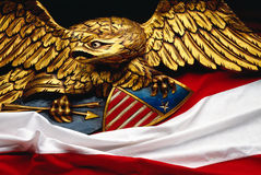 Eagle with flag Stock Images