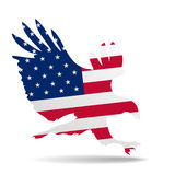 Eagle flag. Detailed illustration of a hunting eagle silhouette colored with the american flag Stock Photography
