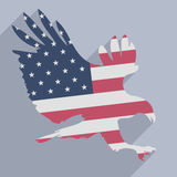 Eagle flag. Minimalistic illustration of a hunting eagle colored with the american flag Stock Photo