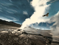 The eagle flies through the geyser. Atacama Desert, Chile Royalty Free Stock Images