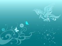 Eagle and floral leaf in indig. Illustration of eagle and floral leaf in grunge background Vector Illustration