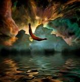 Eagle flyger i livlig färgrik himmel vektor illustrationer