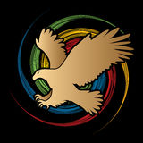 Eagle flying attack. Graphic vector stock illustration