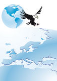 Eagle flying over Europe Stock Photography