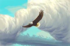 Eagle flying in the sky. / digital painting / cartoon Stock Photos