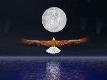 Eagle flying to the moon - 3D render Stock Photos