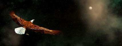 Eagle flying in the universe - 3D render Stock Photos