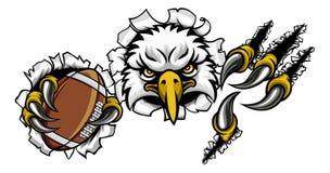 Eagle Football Cartoon Mascot Tearing Background royalty free illustration