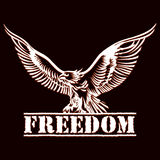 Eagle of freedom. Illustration of eagle over inscription freedom drawn in engraving style stock illustration