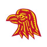 Eagle głowy strony Woodcut Fotografia Royalty Free