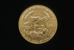Eagle Gold Coin. One ounce gold US coin Royalty Free Stock Photos