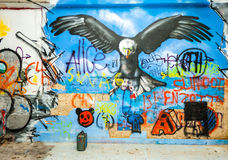 Eagle graffiti in an abandoned factory building. Royalty Free Stock Photo