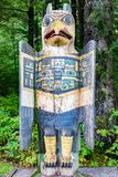 Eagle Grave Marker Totem Pole at Totem Bight State Historical Park, Ketchikan, Alaska. Native American tradition. Totem animals act as guardian spirits stock photos