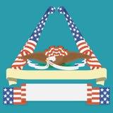Eagle grip a ribbon with US flag. Stock Photos