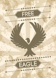 Eagle Grunge Poster. Eagle grunge style poster with flat bird silhouette and text vector illustration Stock Images