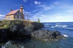 Eagle Harbor Lighthouse på övrehalvön, MI Fotografering för Bildbyråer