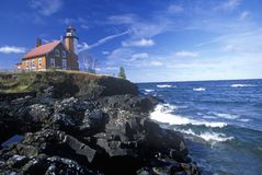 Eagle Harbor Lighthouse on the Upper Peninsula, MI Stock Photos