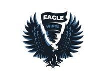 Eagle of havik met uitgestrekte vleugels stock illustratie
