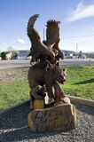 Eagle Hawk Bear Chain Saw Carving. In Chetwynd, British Columbia, Canada Chainsaw Capital of the world stock photo