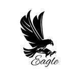 Eagle hawk vector black heraldic icon. Eagle bird black icon. Vector heraldic emblem of powerful wild falcon with stretching clutches. Symbol of eagle hawk Stock Photos