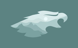Eagle. Head with the contours of the mountains royalty free illustration