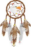 Eagle head dream catcher... Illustration of a Dreamcatcher with an eagles head, and eagle and owl feathers over white. Good dreams pass through webbing, down Stock Photography