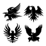 Eagle Head Fly Logo Black Icon Tattoo Vector Illustration. Design Stock Images