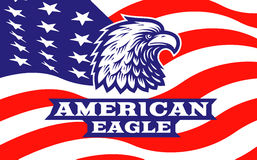 Eagle head logo - vector illustration on american flag background Stock Photography